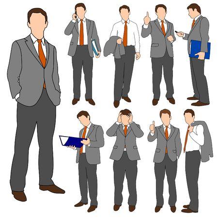 man on cell phone: Grupo de hombres de negocios conjunto 01 Vectores