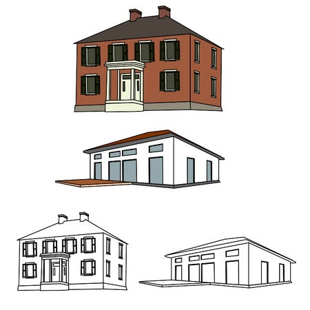 bungalows: House Sketch Set 01