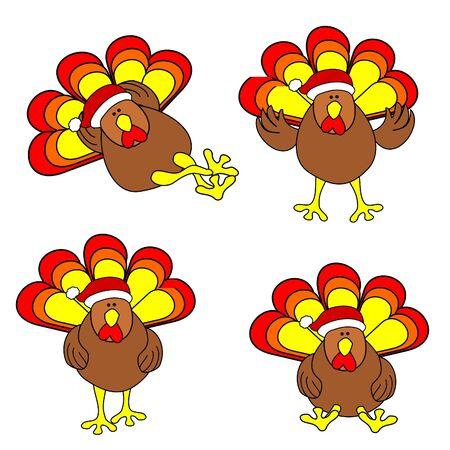 Cute Christmas Turkey Set Vector