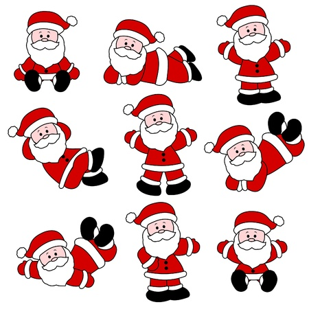 9 Festive Cute Santa Set for Christmas Vector