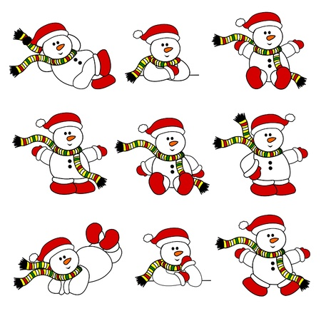 cute christmas: Cute Christmas Snowman Collection Illustration