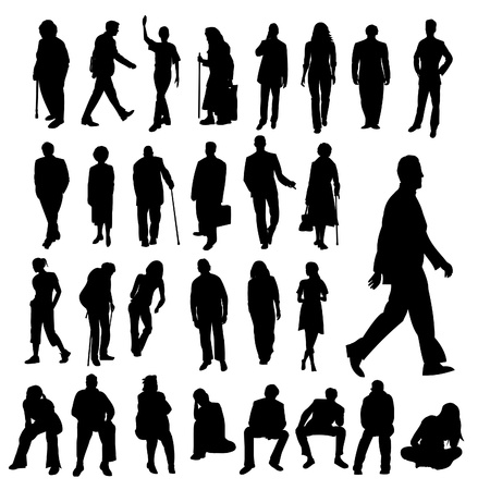 Lots of People Silhouettes Stock Vector - 9718944