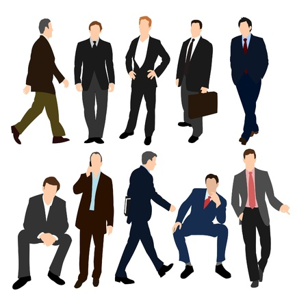 stressed businessman: Set of Men in Suits Illustration