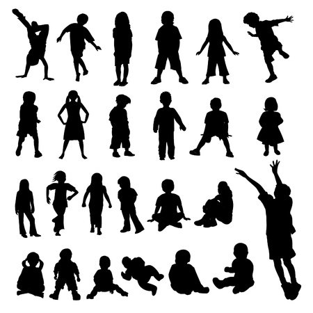cross legged: Lots of Children and Babies Silhouettes Illustration