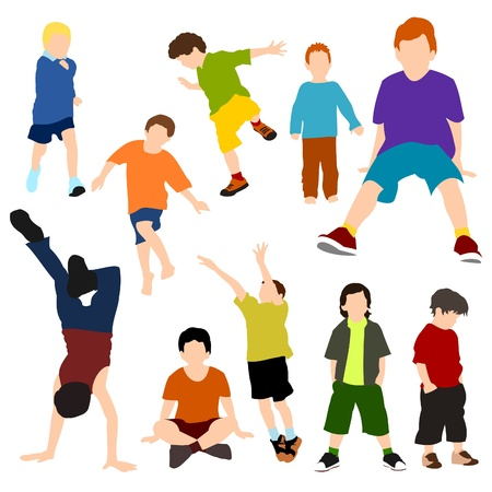 balancing: Set of Children - Boys Illustration