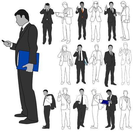 hand holding smart phone: Business Men Group Set 02