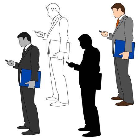 man on cell phone: Estilo de hombre de negocios establecido 11