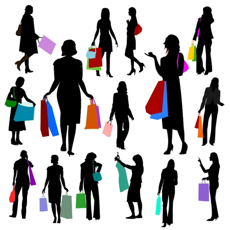 cell phone addiction: People - Women Shopping No.2.