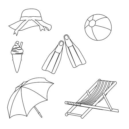sonnenbaden: Strand Objekte Linienart Zeichnung