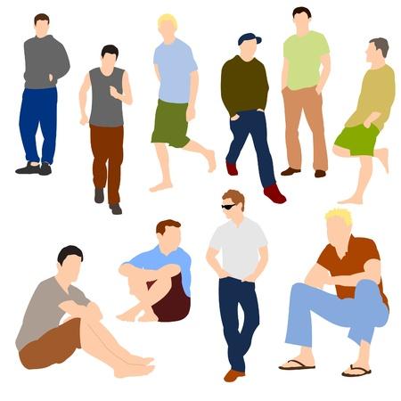 Set van mannen in casual kleding