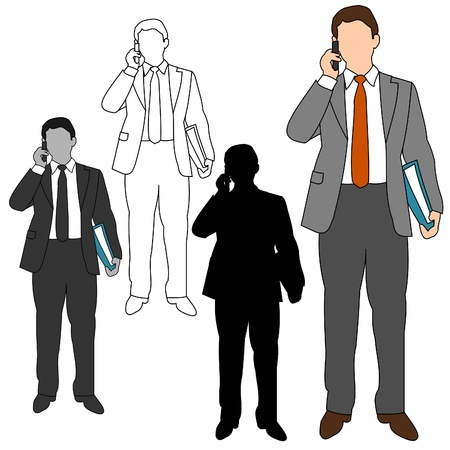 hand holding smart phone: Business Man Style Set 10