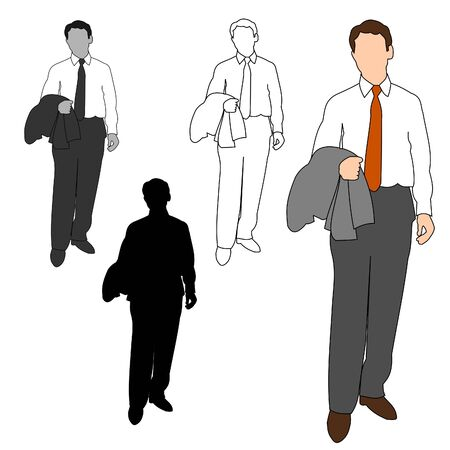 gray suit: Business Man Style Set 12 Illustration