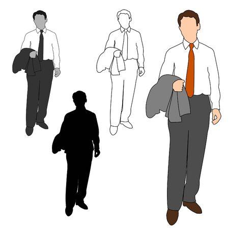 over shoulders: Business Man Style Set 12 Illustration