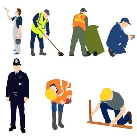 decorando: Profesiones - hombres en el trabajo conjunto 01 Vectores