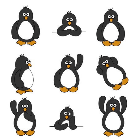 flightless bird: Cute Penguin Set