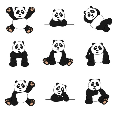 Cute Panda Set Illustration