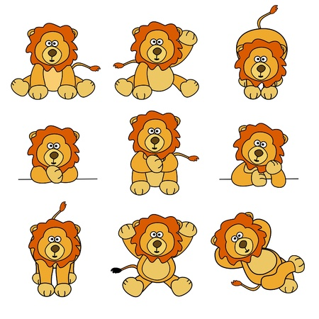 bored: Cute Lion Set Illustration