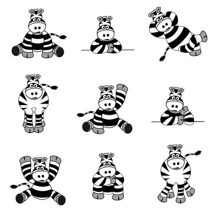 zebras: Cute Zebra Set Illustration