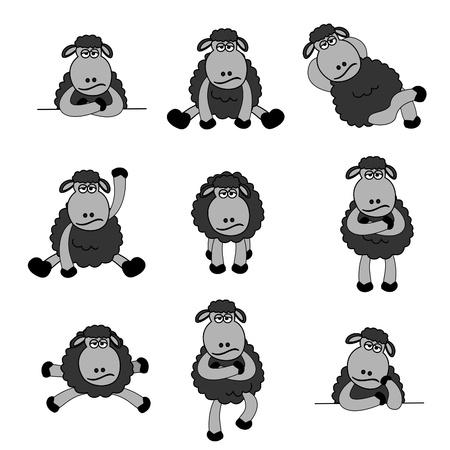 mouton noir: Ensemble des moutons noirs mignons