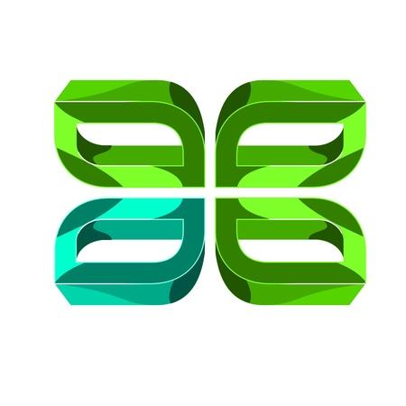 leaf logo: 3d icon - Clover Leaf
