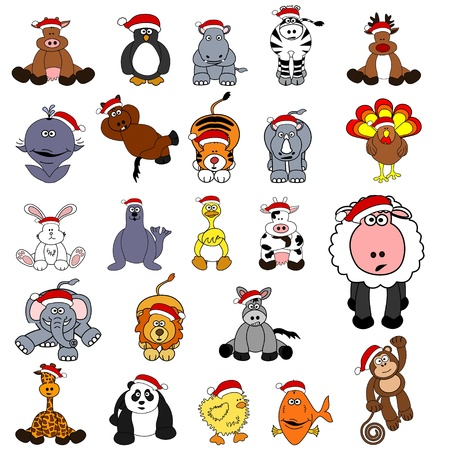Cute Christmas Animal Set  Vector