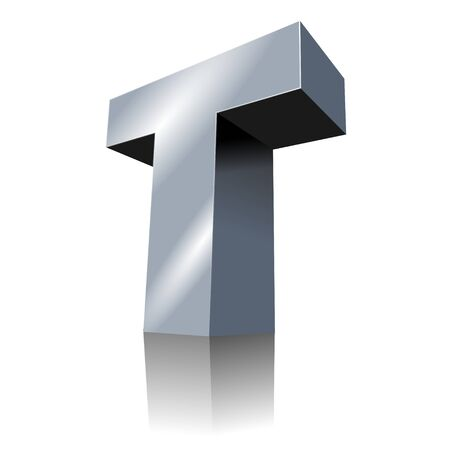 3d letters: 3d icon - Metallic T 3