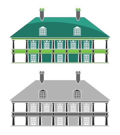 colonial house: Buildings - French Colonial House Illustration