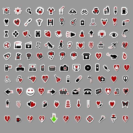 icono contaminacion: M�s de 100 elegantes pegatinas de San Valent�n con temas Vectores