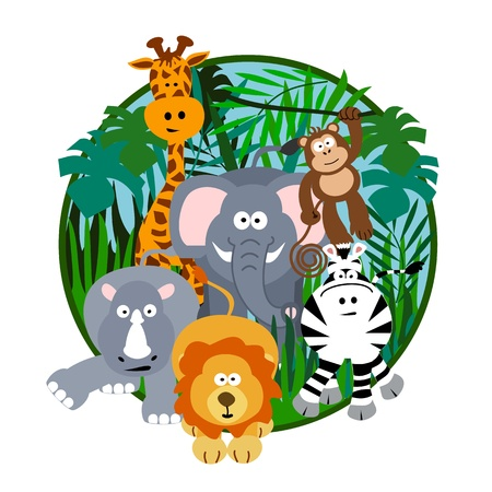 Cute Safari Cartoon Illustration