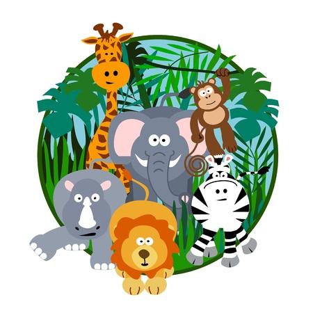 safari cartoon: Cute Safari Cartoon Illustration