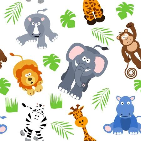 Naadloze Safari Achtergrond Vector Illustratie