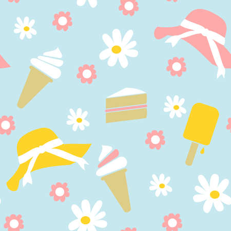 cone cake cone: Seamless Spring Summer Background