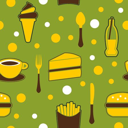 Seamless Junk Food Background Vector