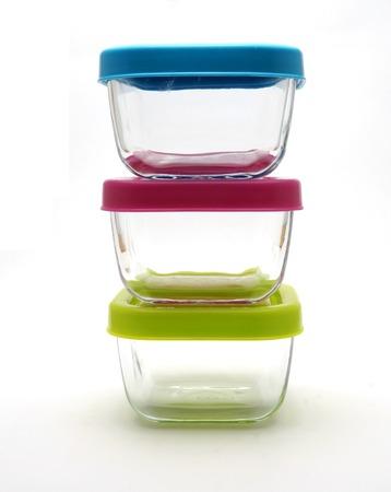 Set of glass lidded tubs photo