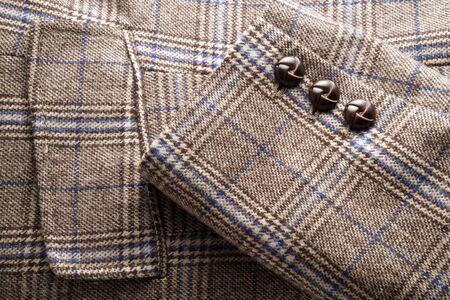 Plaid tweed jacket detail Stock Photo