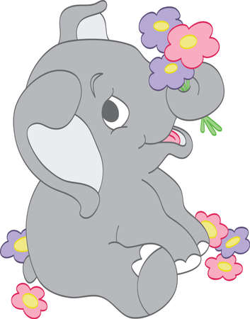 on gray: Elephant picking Flowers Illustration