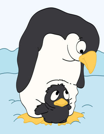 Mother Penguin Watching Her Baby Illustration