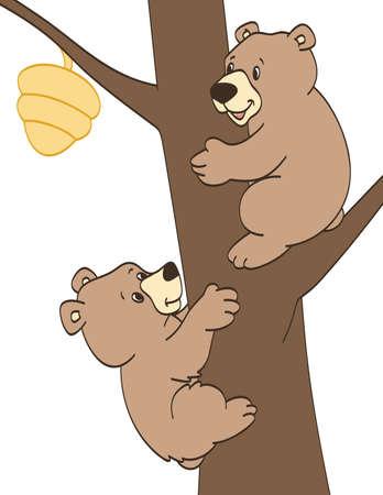 Bear Cubs Trying to get Honey 일러스트