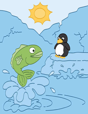 Fish and Penguin Friends Vector