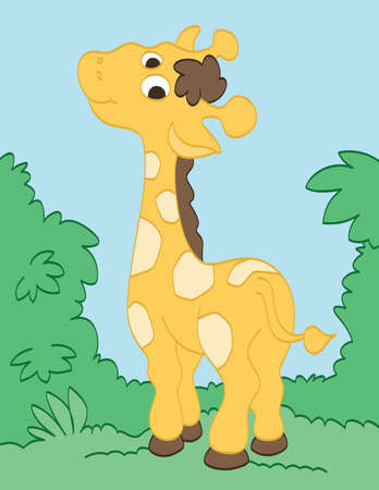 Cute Happy Giraffe Vector