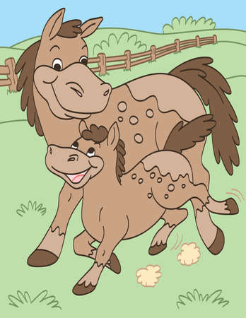 Mother and Baby Horses