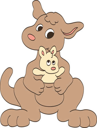 Mother and Baby Kangaroos Vector