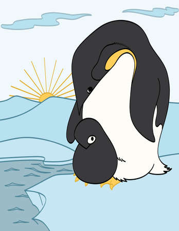 Mother and Baby Penguins Vector