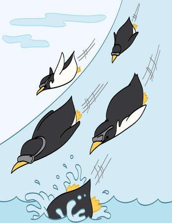 penguin cartoon: Penguins Sliding Downhill