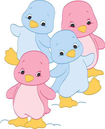 cute baby girls: Girl and Boy Penguins Illustration