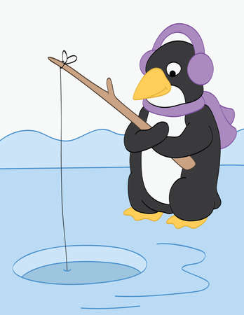 ice fishing: Penguin Goes Fishing