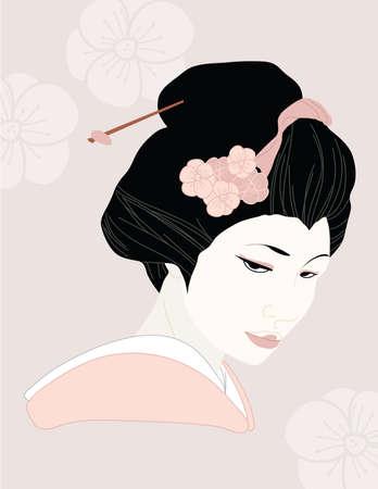 geisha kimono: Geisha Illustration