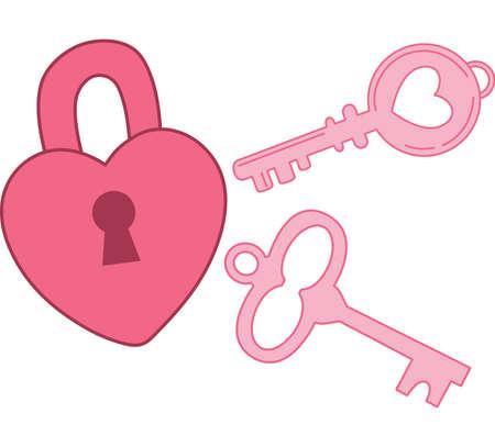 Heart Lock and Key Illustration