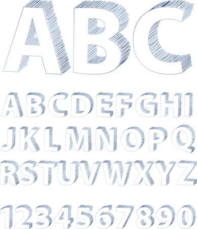 Scribble Alphabet Blue