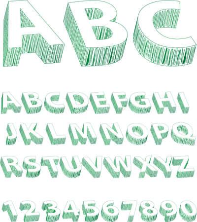 Scribble Alphabet Green